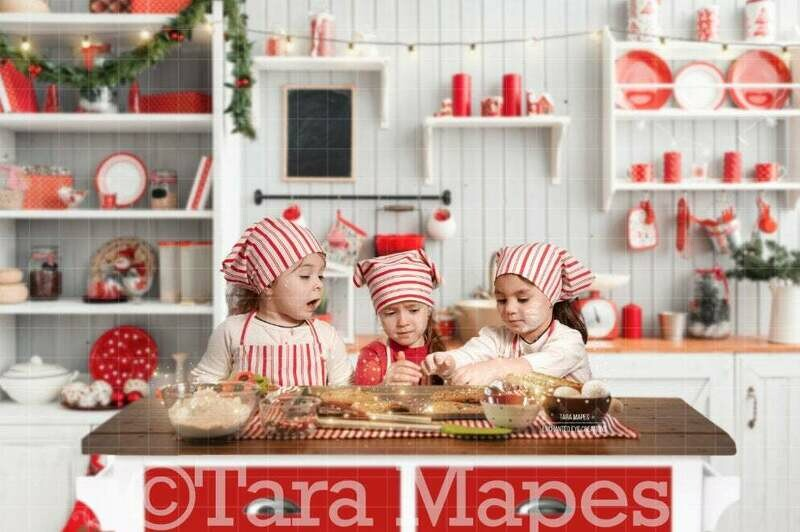 Christmas Kitchen - Baking Christmas Cookies - LAYERED PSD - Holiday Christmas Digital Background / Backdrop