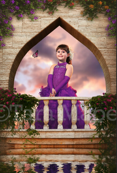 Balcony Castle by Water Layered PSD - Princess Balcony Sunset -  Castle Balcony with Flowers - Magical Digital Background Backdrop