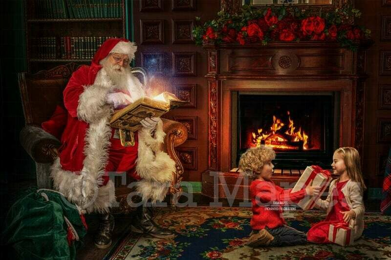 Santa Reading Book in Chair by Fireplace - Santa with Magic Book - Cozy Christmas Holiday Digital Background Backdrop
