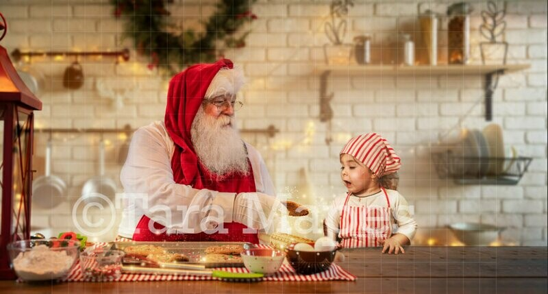 Baking Cookies with Santa  Christmas Kitchen with Santa - Christmas Holiday Digital Background Backdrop