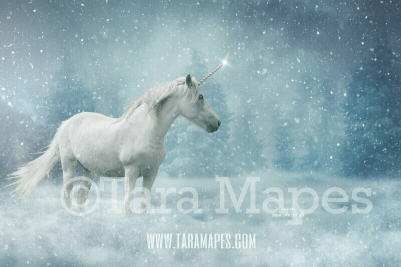 Winter Unicorn - Unicorn in Snow - Snow Unicorn - Christmas Holiday Digital Background