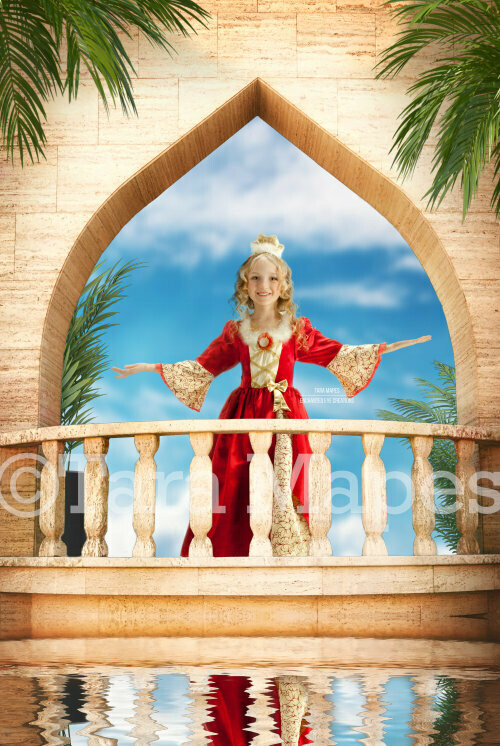 Balcony Castle with Palm Trees Layered PSD - Princess Balcony Sunset -  Castle Balcony Tropical - Magical Digital Background Backdrop