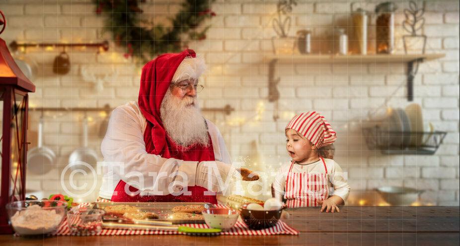 Baking Cookies with Santa  Christmas Kitchen with Santa - Christmas Holiday Digital Background Backdrop