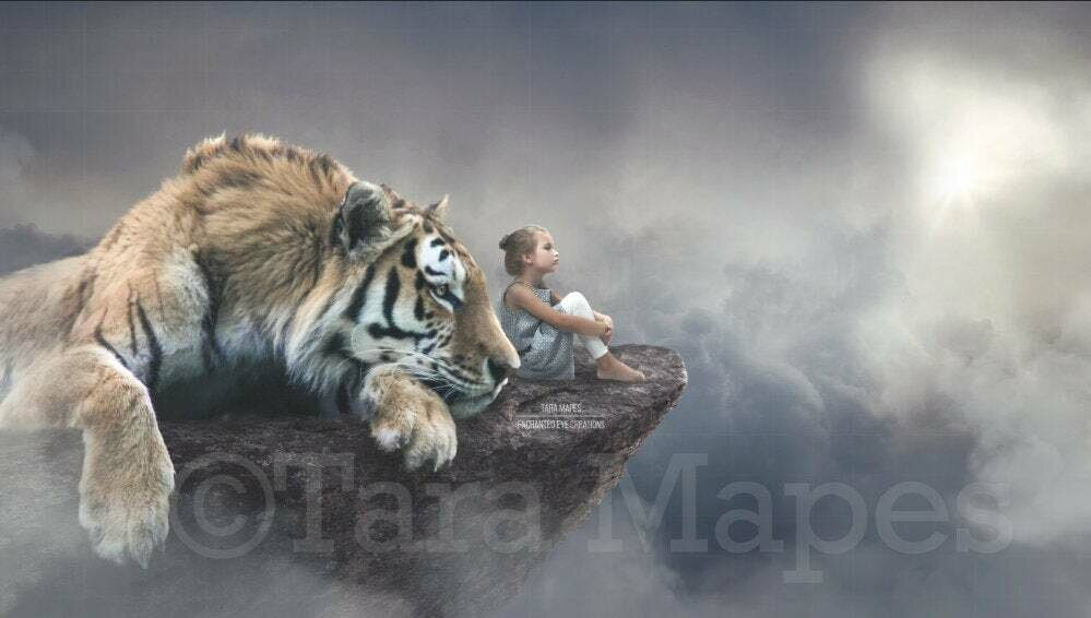 Big Tiger on Cliff Magical Fantasy Digital Background Backdrop