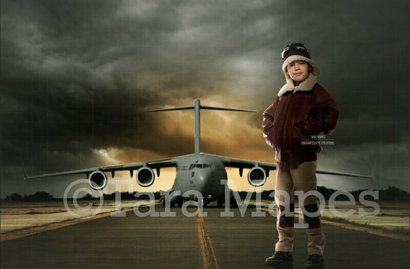 Airplane Airport Military Pilot Fighter Top Gun Jet Runway Digital Background Backdrop