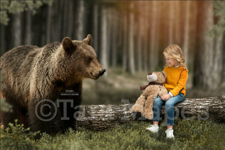 Baby Bear by Log in Forest with Sunlight Digital Background Backdrop