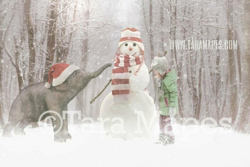 Baby Elephant Building Snowman - Snowy Winter Scene - FREE SNOW OVERLAY - Christmas Elephant - Whimsical Winter Digital Background Backdrop