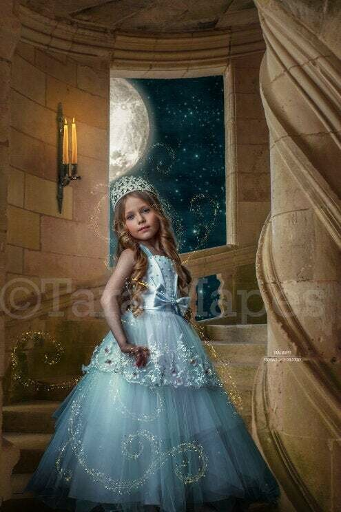 Princess Castle Staircase - Castle Stairs - Fairytale Moonlight Castle - Digital Background Backdrop Photoshop