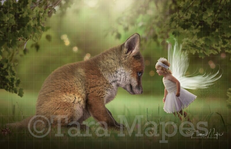 Baby Fox Digital Background - Fox in Forest with Creamy Bokeh - Scene for Fairy