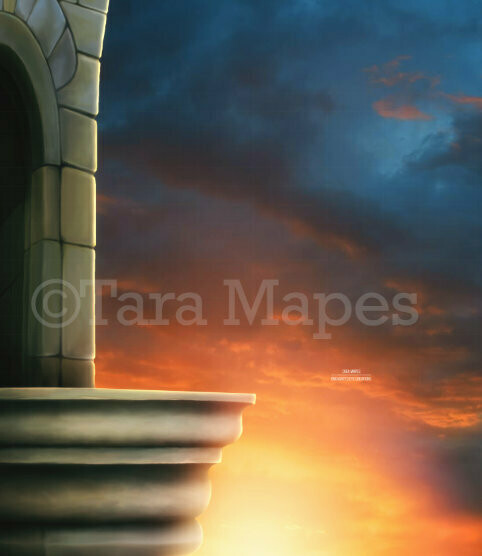 Balcony in Sunset -   Digital Background / Backdrop