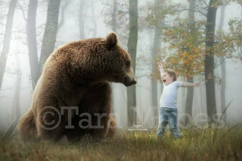 Bear in Foggy Forest Spring Autumn Creamy Digital Background Backdrop