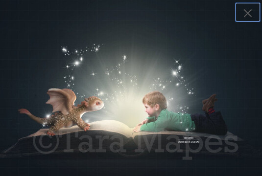 Baby Dragon on Magic Book Digital Background / Backdrop Digital Background Backdrop