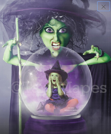 Witch Looking in Magic Snow Globe - Snowglobe Halloween Witch Digital Background / Backdrop
