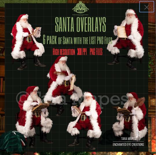 Santa Overlays 6 PACK PNG - Santa With a List - Santa with Scroll  - Santa Cut Out  - Christmas Overlay - Santa PNG - Christmas Overlay