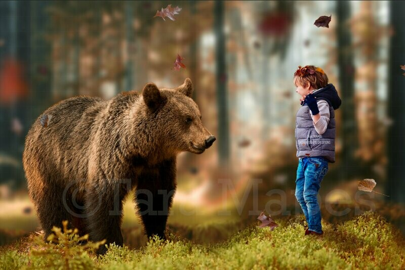 Bear in Forest Autumn Fall Leaves Digital Background Backdrop