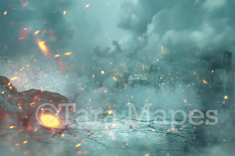 Castle Ruins Earthquake Fire Dragon Scene Digital Background / Backdrop