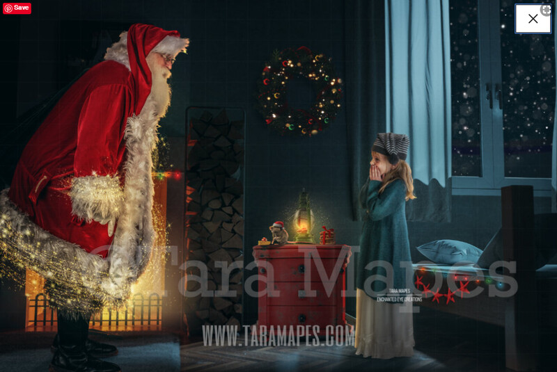 Santa Bedroom by Fireplace - Santa with Magic Bag- Santa Surprise with Mouse and Magic -  Christmas Holiday Digital Background Backdrop