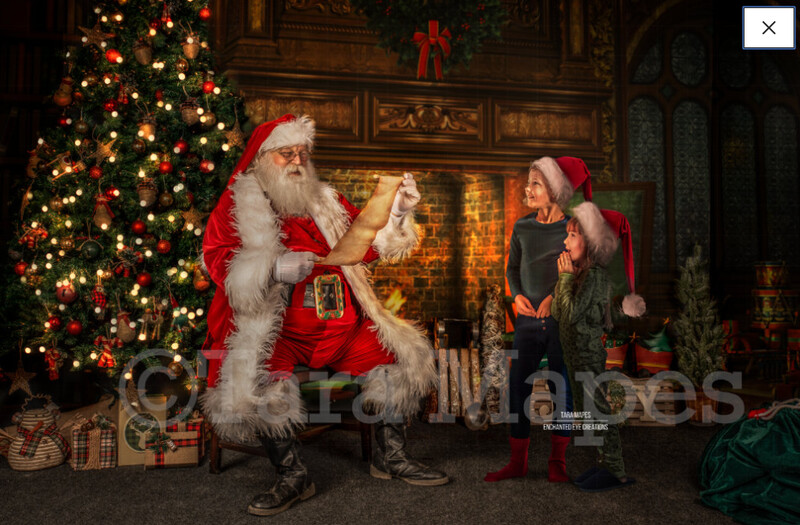 Santa Reading Naughty or Nice List by Fireplace - Santa with Scroll - The Good List - Christmas Holiday Digital Background Backdrop