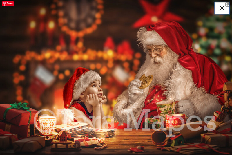 Santa's Workshop - Santa's Desk - LAYERED PSD! Santas Work Shop - Santa Letters - Holiday Christmas Digital Background / Backdrop
