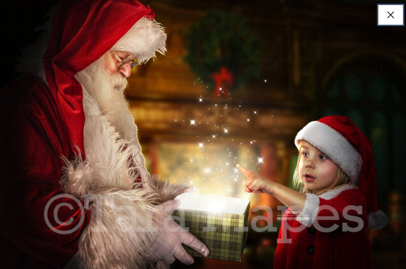 Santa with Magic Gift by Fireplace - Christmas Magic Holiday Digital Background Backdrop