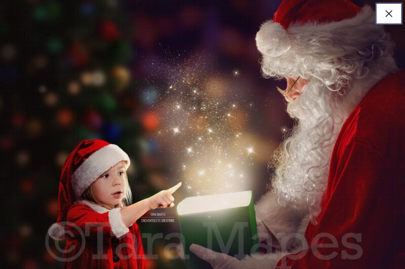 Santa with Magic Gift by Christmas Tree Holiday Digital Background Backdrop