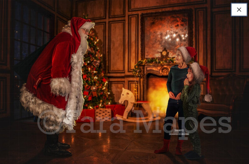 Santa with Sack by Fireplace - Santa with Gifts - Cozy Christmas Scene - Christmas Holiday Digital Background Backdrop