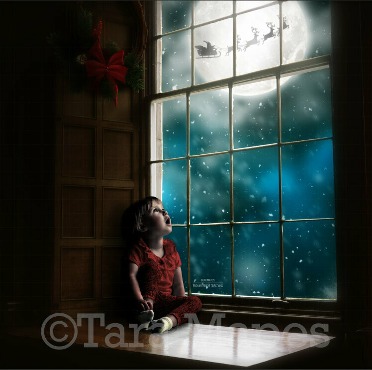 Big Christmas Window Vintage with Santa in Moon at Night Digital Background Backdrop