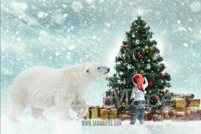 Christmas Polar Bear Decorating Christmas Tree- Polar Bear Decorating Tree - Holiday Funny Christmas Card Idea - Digital Background Backdrop