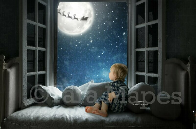Christmas Window with Santa in Moon Digital Background Backdrop