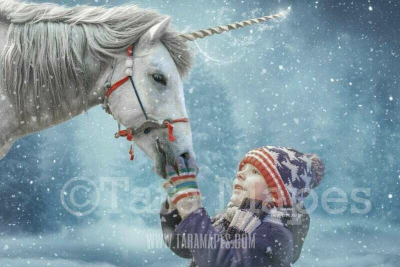 Christmas Unicorn - WInter Unicorn - Unicorn in Snow - Snow Unicorn - Christmas Holiday Digital Background