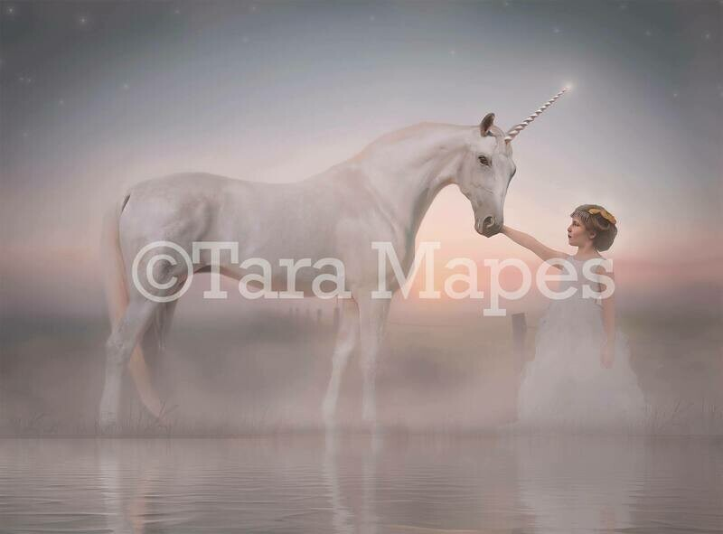 Unicorn by Lake Digital Background - Magical Unicorn Digital Backdrop