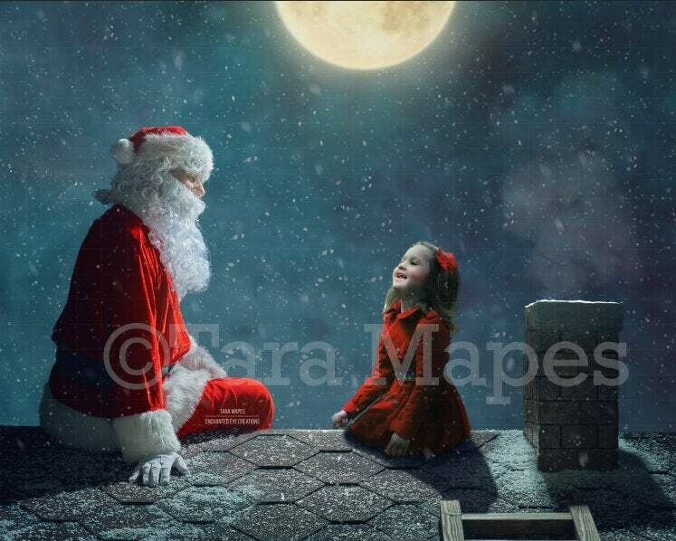 Santa on Rooftop Christmas Holiday Digital Background Backdrop