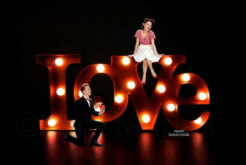 Love in Lights - LOVE - Wedding Anniversary - Valentine Background - Couples Engagement - Digital Background / Backdrop
