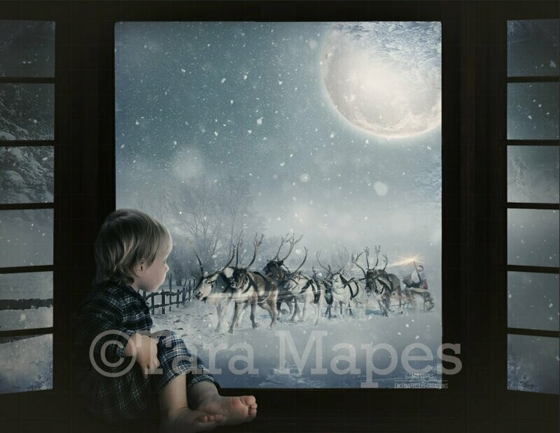 Christmas Window Santa Sleigh with Reindeer at Night with Magic and Moon Digital Background Backdrop