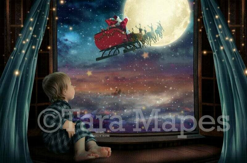 Christmas Window Overlooking City with Santa in Moon - Christmas Village - Magic Window with Santa in Moon Digital Background Backdrop