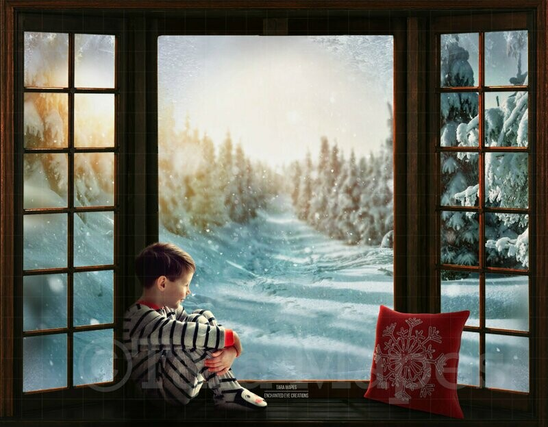 Christmas Window Seat Winter Path Digital Background Backdrop
