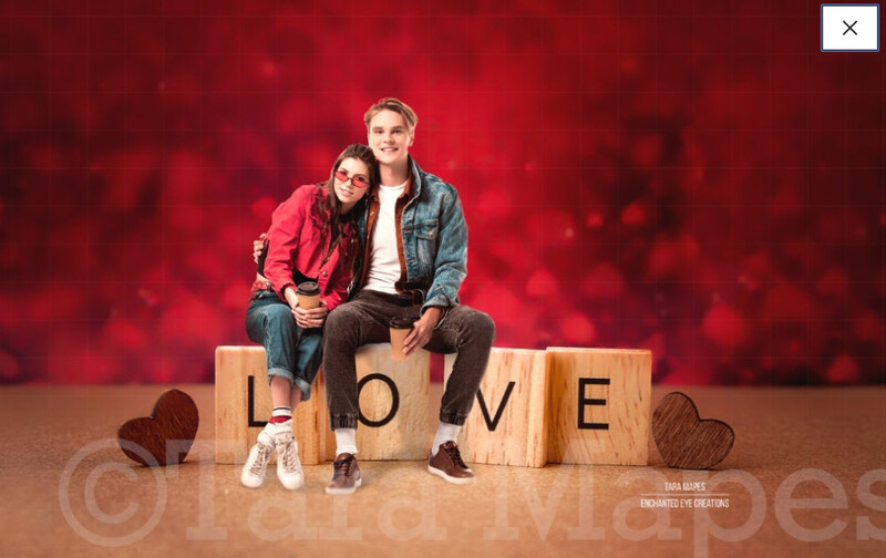 Love Letters - LOVE - Creamy Red Hearts - Valentine Background - Wedding Love - Couples Engagement - Digital Background / Backdrop