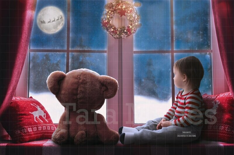 Christmas Window with Santa in Moon - Christmas Window - Teddy at Window Holiday Digital Backdrop / Background