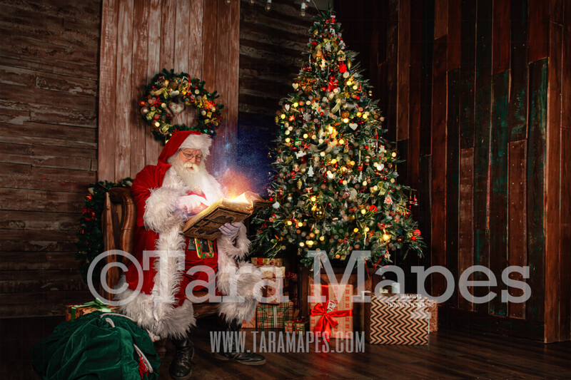 Santa's Cabin - Santa Reading Book in Cabin Christmas Kitchen with Santa - Christmas Holiday Digital Background Backdrop