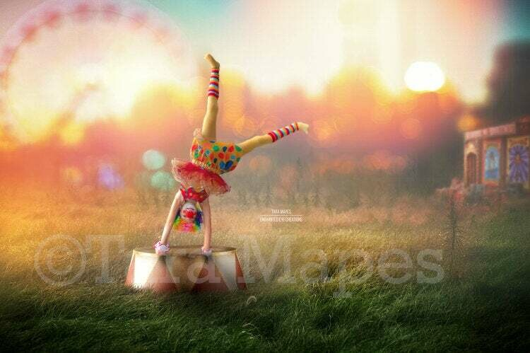 Circus Grounds with Circus Stand - Fairgrounds - Festival - Carnival - Digital Background Backdrop