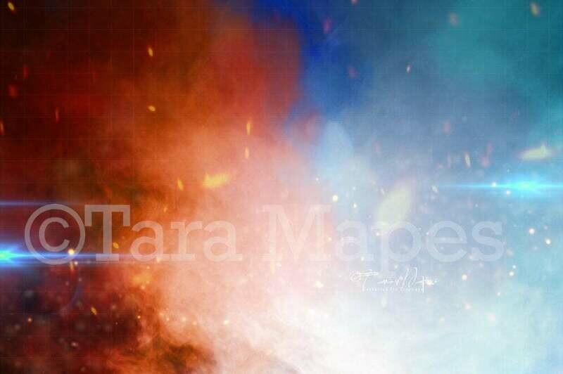 Girl Power Superhero Red and Blue Smoke with Fire Digital Background Backdrop