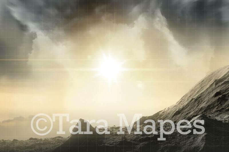 Foggy Superhero Scene - Mountain Rock Explosion Super Hero Digital Background