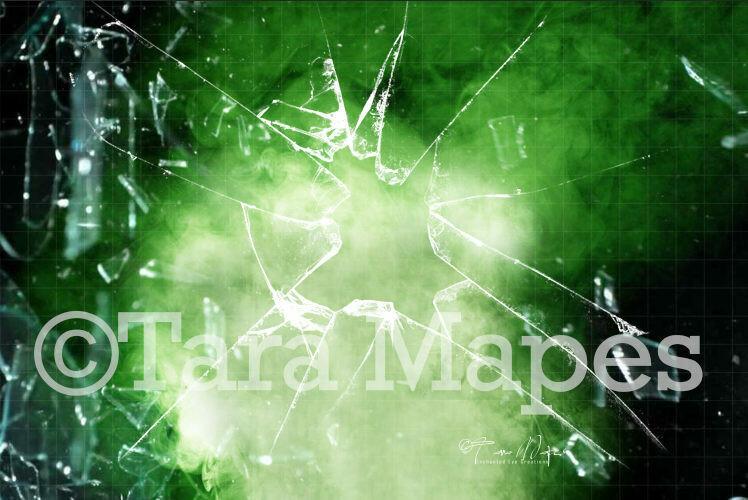 Superhero Broken Glass and Smoke Explosion Digital Background Backdrop