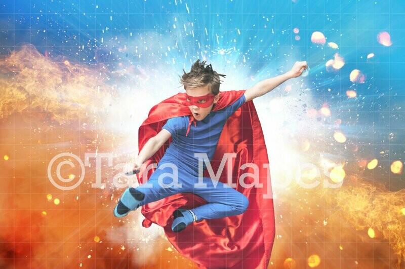 Superhero Explosion Background Hero Digital Background Backdrop