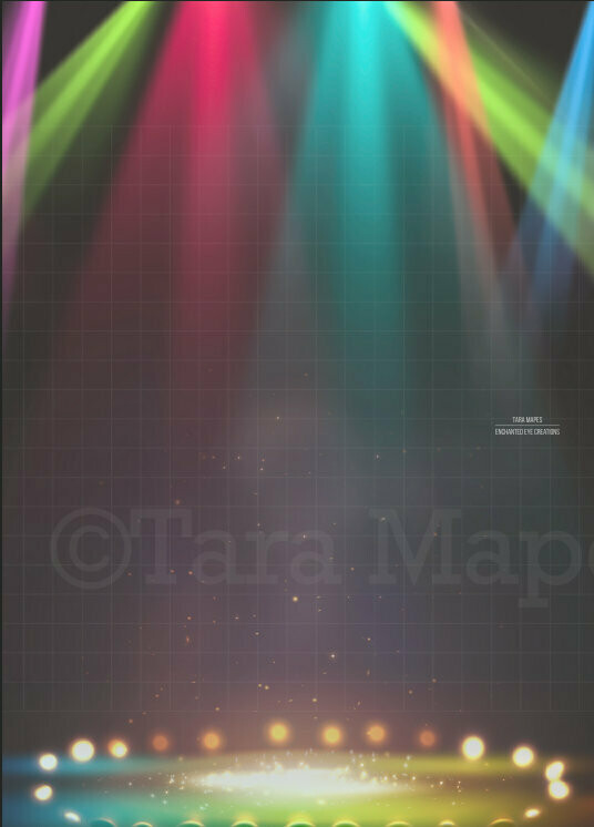 Circus Ring Arena Lights Stage with Colorful Lights Digital Background Backdrop