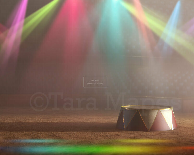 Circus Ring Arena Stage with Colorful Lights Digital Background Backdrop