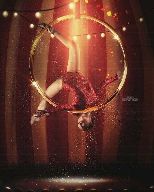 Circus Ring Gold Hoop and Lights Digital Background Backdrop