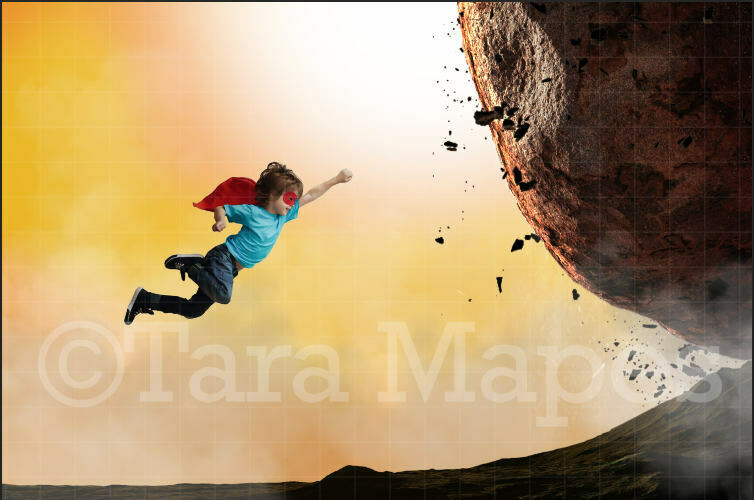 Superhero Saving City  Superhero flying - Big Boulder - Digital Background