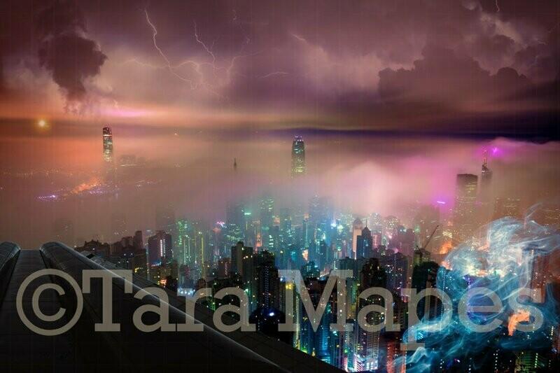 Superhero Over City Digital Background Backdrop