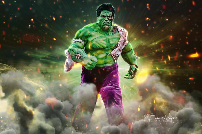Superhero Explosion - Green Superhero Burning City Fire Digital Background
